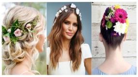 مدل آرایش موی عروس با استفاده از گل طبیعی