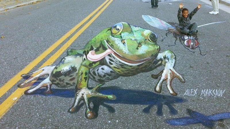 تلفیق نقاشی سه بعدی و هنر خیابانی