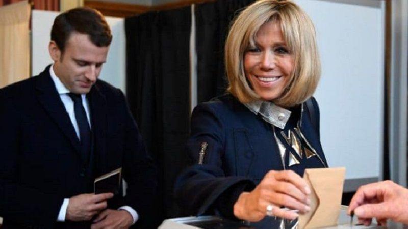 ماکرون و همسرش در انتخابات فرانسه