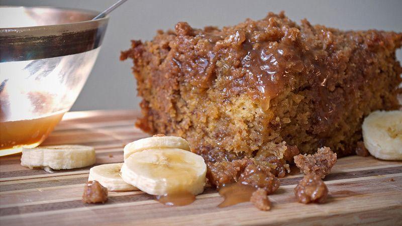 طرز تهیهی کیک موزی کاراملی