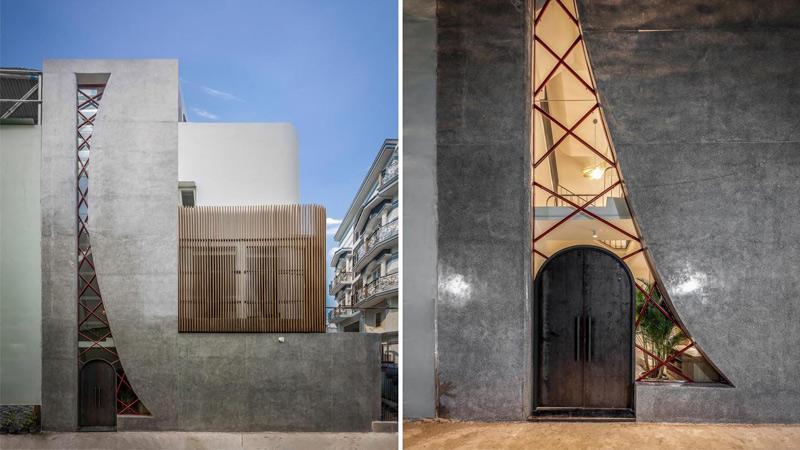 طراحی جالب پنجرهای بزرگ در نمای منزلی مسکونی در ویتنام