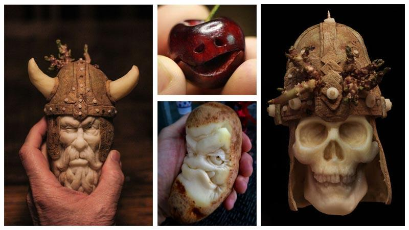 حکاکی های زیبای دین آرنولد روی انواع میوه و سبزیجات