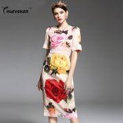 2017-Summer-Runway-Designer-Dress-Women-s-High-Quality-Shrot-Sleeve-Charming-Multicolor-Big-Rose-Flower