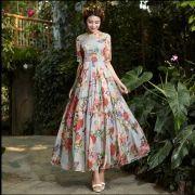 New-Fashion-Chiffon-Floral-Dress-Women-s-O-Neck-Half-Sleeve-Long-Summer-Dress-Plus-Size