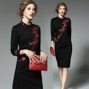 QA596-Western-high-end-big-2017-spring-office-dress-women-slim-vintage-plum-font-b-embroidery