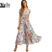 SheIn-Multicolor-Floral-Print-Button-Split-font-b-Front-b-font-Flare-Beach-Wear-Boho-Maxi