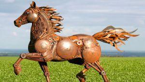 ساخت مجسمه حیوانات از قطعات فلزی بیمصرف