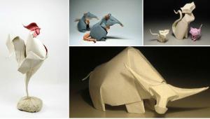 حیوانات کاغذی ساخته شده با هنر اوریگامی