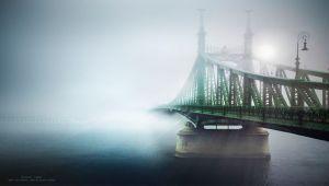 چشم انداز پایتخت مجارستان شهر بوداپست در پس پردهی مه